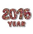 happy new year 2016 decorative hand drawn vector image