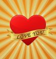 Heart with ribbon and phrase Love You concept vector image