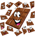 milk chocolate cartoon with many expression vector image vector image
