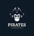 modern professional emblem pirates monkey for vector image vector image