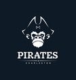 modern professional emblem pirates monkey vector image vector image