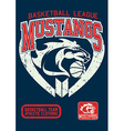 Mustangs basketball league on a navy background vector image vector image
