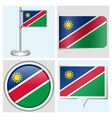 Namibia flag - sticker button label flagstaff vector image vector image