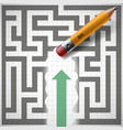 pencil erases maze new opportunities vector image