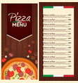 restaurant cafe menu italian pizza menu pizza vector image vector image
