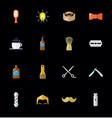 set barber shop elements and shave shop icons vector image
