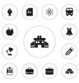 set of 12 editable school icons includes symbols vector image