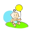 Small baby playing with a yellow balloon vector image vector image