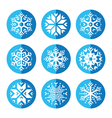 Snowflakes round blue icon set vector image