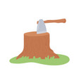 stump with ax vector image vector image