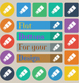 USB flash icon sign Set of twenty colored flat vector image vector image