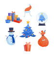 winter holidays icons set - various christmas and vector image