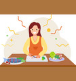 women cook food from home during quarantine flat vector image vector image