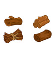 Wooden resources for games icons set vector image