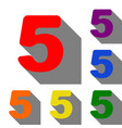 number 5 sign design template element set of red vector image