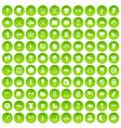 100 baseball icons set green circle vector image vector image