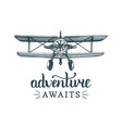 adventure awaits motivational quotevintage retro vector image vector image