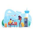 airline transportation people tourists wait vector image vector image