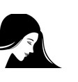 beautiful woman face with black hair vector image vector image