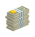 big stack of dollar bills vector image