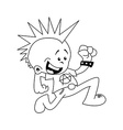 black and white little punk running vector image vector image