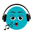 blue cartoon face and musical notes graphic vector image