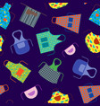 cartoon cooking aprons seamless pattern background vector image vector image
