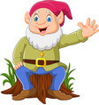 cartoon happy dwarf sitting on tree stump vector image