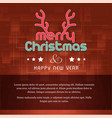 christmas card with dark background and horns vector image
