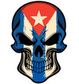 Cuba flag painted on a skull vector image vector image