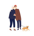 cute couple hugging hold gift box walking with dog vector image vector image