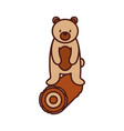 cute forest bear and wooden natural wildlife vector image vector image
