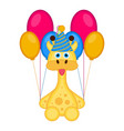 cute giraffe with a party hat and balloons vector image