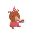 cute girl bear walking with tray of delicious vector image vector image