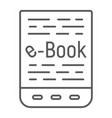 e book thin line icon e learning and education vector image vector image