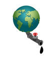 earth and oil tap pumping oil minerals planet vector image vector image