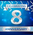 eight years anniversary celebration design vector image vector image