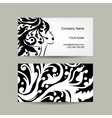 Female head silhouette Business card design vector image