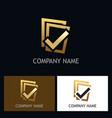 gold check list logo vector image vector image