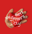 greeting card valentines day hand with heart vector image vector image