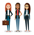 group of businesswoman with portfolio teamwork vector image vector image
