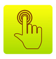 hand click on button brown icon at green vector image vector image