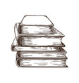 hand drawn book stack retro textbooks vector image vector image
