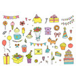 hand drawn doodle happy birthday set vector image vector image