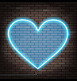 human heart of glowing neon lights brick wall vector image vector image