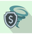 Hurricane insurance icon flat style vector image vector image