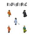 isometric people set of detective plumber vector image vector image