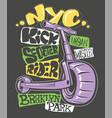 kick scooter print design vector image vector image
