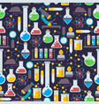 laboratory glassware seamless pattern vector image vector image