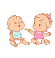 little girl feed boy with spoon toy food vector image